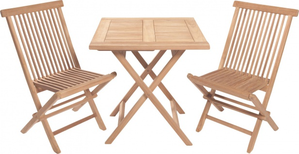 Teakholz Sitzgruppe Riva Set Bistrotisch eckig zwei Klappstühle Teak Möbel Gartenmöbel
