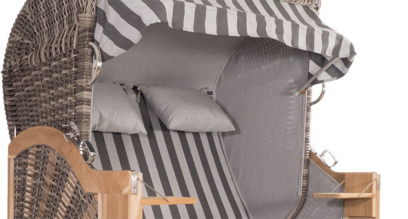 Strandkorb Kampen 2, 5-Sitzer White Oak Set 1 inkl. Industrierollen und Hydraulikdämpfer - Vorschau 3