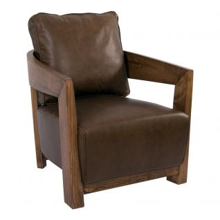 Clubsessel Cedric Holz und Leder Chocolate Brown Sessel Ledersessel Design