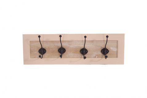 Garderobe Provence Landhaus Stil 4 Kleiderhaken Holz Vintage Look creme weiß