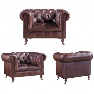 Chesterfield Ledergarnitur Mansfield 3-Sitzer, 2-Sitzer und Sessel 3+2+1 - Vorschau 2
