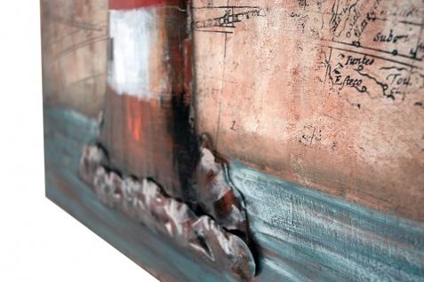 Handgefertigtes Metallbild Leuchtturm Map ca. 100x80 cm Kunst Bild 3D-Optik Wandbild - Vorschau 3