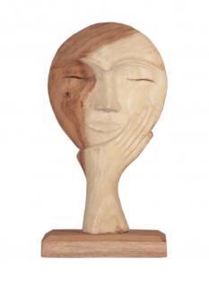 """Wohndekoration Skulptur """"Maske, getragen von einer Hand"""" aus Teakholz S"""