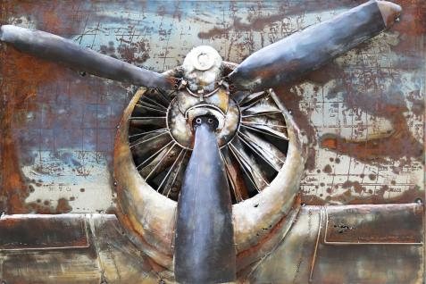Handgefertigtes Metallbild Propeller ca. 110x70 cm Kunst Bild 3D-Optik Wandbild - Vorschau