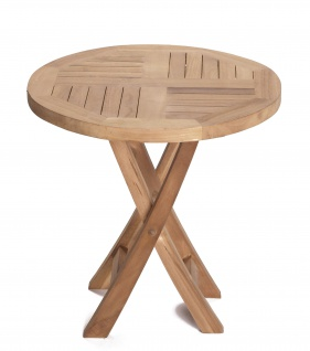 Teakholz Beistelltisch Riva rund Teak Tisch Klapptisch Gartenmöbel Teakmöbel Gartentisch