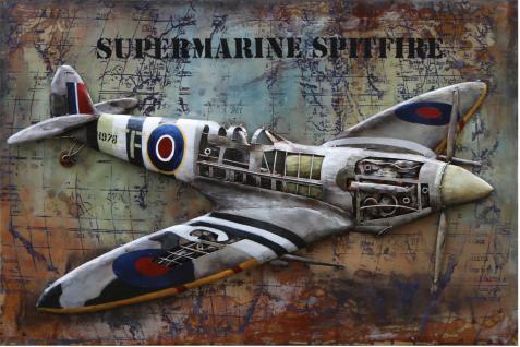 Handgefertigtes Metallbild Spitfire ca. 120x80 cm Kunst Bild 3D-Optik Wandbild - Vorschau 1