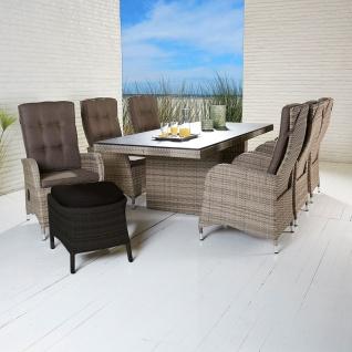 Polyrattan Tischgruppe Rabida Turin Natur Tisch 6 Stühle