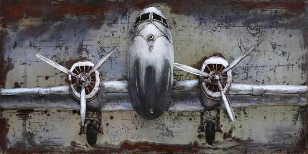 Handgefertigtes Metallbild Flugzeug ca. 120x60 cm Kunst Bild 3D-Optik Wandbild - Vorschau