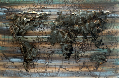 Handgefertigtes Holz-Metallbild World on Wood ca. 115x75 cm Kunst Bild 3D-Optik Wandbild