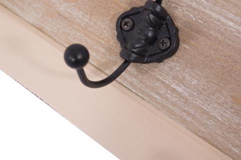 Garderobe Provence Landhaus Stil 4 Kleiderhaken Holz Vintage Look creme weiß - Vorschau 3