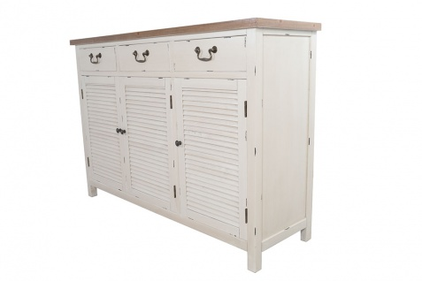 Kommode Bretagne XL 3 Türen Holz Vintage Look creme weiß - Vorschau 3