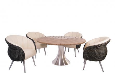 Tischgruppe Sofia Gartentisch Esstisch Dining Armchair Polyrattan Yachtleder