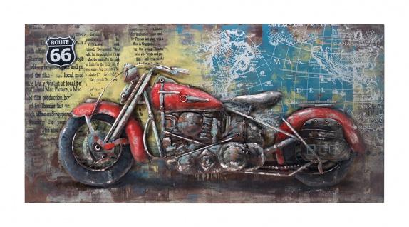 Handgefertigtes Metallbild Route 66 Red ca. 70x140 cm Kunst Bild 3D-Optik Wandbild