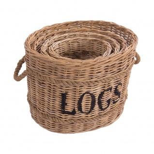 Korbset Rope oval 4 Körbe Rattankorb Naturrattan Tragekorb Truhe Wäschekorb Vorratskorb