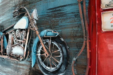 Handgefertigtes Metallbild Motorcycle Gasstation ca. 115x75 cm Kunst Bild 3D-Optik Wandbild - Vorschau 2