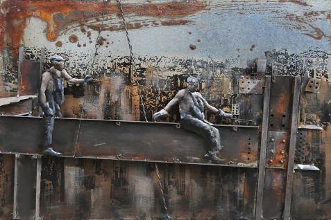 Handgefertigtes Metallbild Work ca. 120x80 cm Kunst Bild 3D-Optik Wandbild - Vorschau