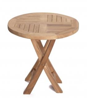 Teakholz Sitzgruppe Riva Set Bistrotisch rund zwei Klappstühle Teak Möbel Gartenmöbel - Vorschau 2