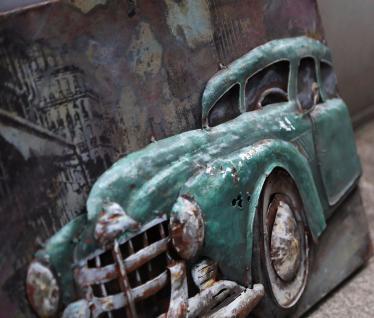 Handgefertigtes Metallbild Oldtimer Cyan ca. 120x80 cm Kunst Bild 3D-Optik Wandbild - Vorschau 2