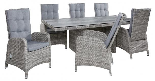 Polyrattan Tischgruppe Nizza White Grey Tisch 6 Stühle Sitzgruppe Dining Set