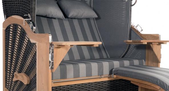 Strandkorb Kampen 2, 5-Sitzer Mocca Set 10 inkl. Industrierollen und Hydraulikdämpfer - Vorschau 3
