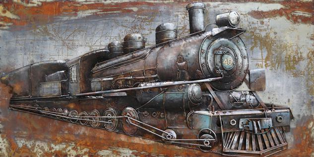 Handgefertigtes Metallbild Railroad ca. 140x70 cm Kunst Bild 3D-Optik Wandbild