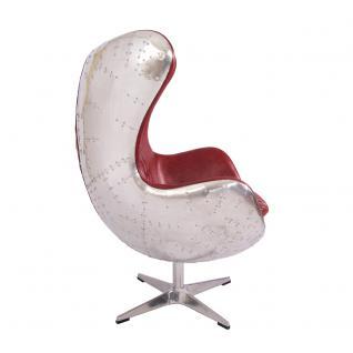 Design Schalensessel Saltum Royal Rouge Vintage Leder Aluminium - Vorschau 3
