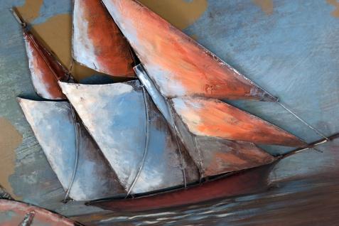 Handgefertigtes Metallbild Segelboot ca. 100x100 cm Kunst Bild 3D-Optik Wandbild - Vorschau 4