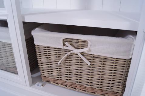 Vitrinenschrank Larvik Holz Glas 2 Körbe Vintage Look weiß - Vorschau 4