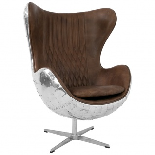 Design Schalensessel Saltum Cuba Brown Vintage Leder Aluminium