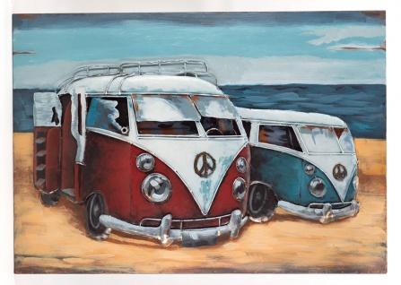 Handgefertigtes Metallbild Strandbus 2er Rot Blau ca. 100x70 cm Kunst Bild 3D-Optik Wandbild - Vorschau 1