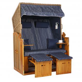 2 Sitzer Natur Ostseestrandkorb Hörnum Blau Nadelstreifen Strandkorb Volllieger - Vorschau 1