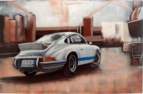 Handgefertigtes Metallbild Porsche 911 white ca. 115x75 cm Kunst Bild 3D-Optik Wandbild