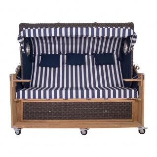 Familien Strandkorb Kampen 4-Sitzer Spezial in Mocca Duo T19 Azul Oscuro PolyrattanTeakholz Teak - Vorschau 2