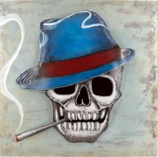 Handgefertigtes Metallbild Dead Smoker ca. 80x80 cm Kunst Bild 3D-Optik Wandbild