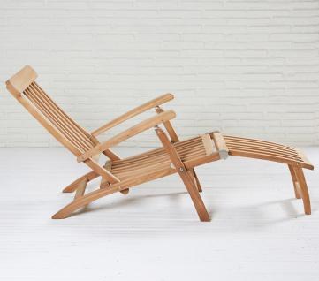 Teakholz Deckchair Kampen Sonnenliege Gartenliege Liegestuhl Teak Teakstuhl - Vorschau 3