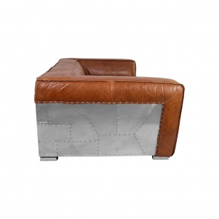 Clubsofa Longford 2, 5-Sitzer Vintage-Leder Chrom - Vorschau 3