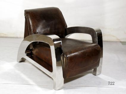 Clubsessel Memphis Vintage-Leder Chrom - Vorschau 2
