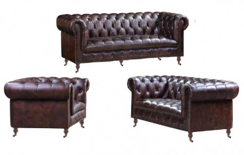 Chesterfield Ledergarnitur Mansfield 3-Sitzer, 2-Sitzer und Sessel 3+2+1