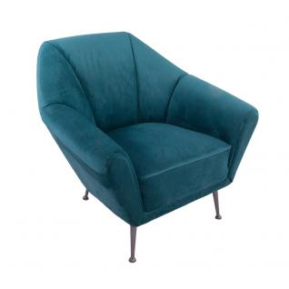 Design-Clubsessel Galabria Peacock Blue Samt Edelstahl Stoffsessel Sessel
