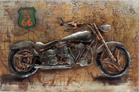 Handgefertigtes Metallbild Motorcycle 66 ca. 115x75 cm Kunst Bild 3D-Optik Wandbild
