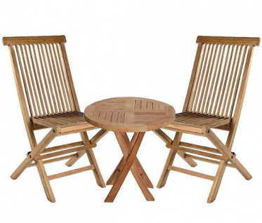 Teakholz 3er Set Riva Beistelltisch rund und zwei Klappstühle Teak Möbel Gartenmöbel
