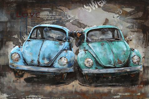 Handgefertigtes Metallbild Beetle ca. 120x80 cm Kunst Bild 3D-Optik Wandbild