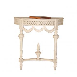 Wandkonsole / Konsolentisch Endang halbrund weiß Landhausmöbel