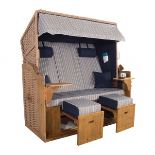 XXL 2, 5 Sitzer Natur Strandkorb Hörnum Blau-Grau Nadelstreifen