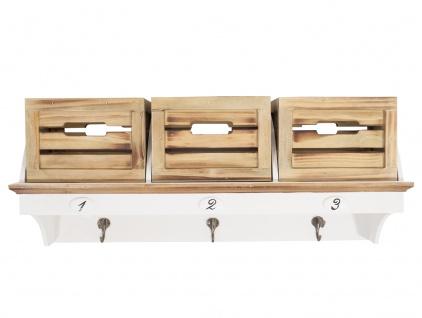 """Wandregal """"Italy"""" mit 3 Kisten und 3 Haken im Landhaus Stil"""