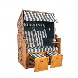 2 Sitzer Natur Ostseestrandkorb Hörnum Grün Blockstreifen Strandkorb Volllieger