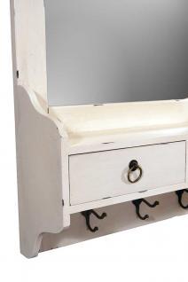 Wandgarderobe Provence mit Spiegel Landhaus Stil Holz 2 Schubladen Vintage Look creme weiß - Vorschau 3
