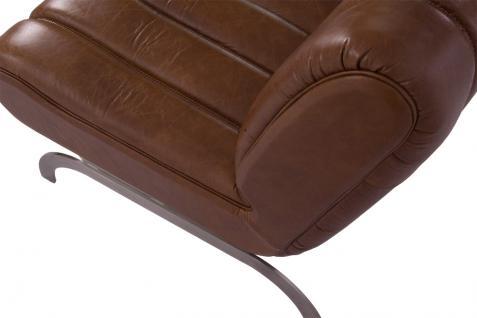 Design-Clubsessel Cassidy Columbia Brown Edelstahl Ledersessel Leder Sessel - Vorschau 5