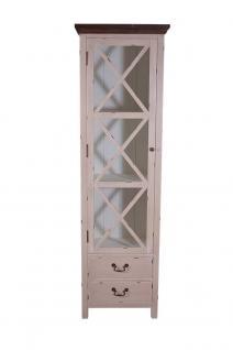 Vitrinenkommode Paris schmal Holz Vintage Look creme weiß - Vorschau 2