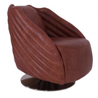 Designsessel Wings Vintage Leder Chrom Mocca Brown